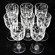 Vintage Clear Crystal Glass CORDIALS Set of 8 Etched BAMBOO