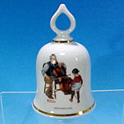 """Collectible 1979 NORMAN ROCKWELL Porcelain China Dinner Bell """"The Wonderful World of Norman Rockwell"""" GRANDPA'S GIRL - The Danbury Mint"""