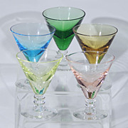 Vintage Hand Blown Crystal Glass Stemmed SHERBET CHAMPAGNE CORDIAL Glasses Set of Five
