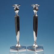 """Antique FORBES SILVER PLATE CO. Silverplated Candlesticks 10.5"""" Hexagon PAIR #806"""