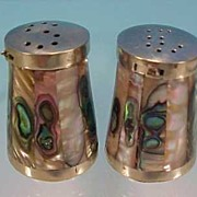 Vintage TAXCO SILVER & MOTHER OF PEARL Salt & Pepper Shakers / Mexican Silver