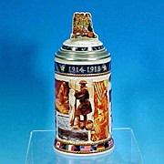 Vintage ANHEUSER-BUSCH Lidded Beer Stein Historical Wars Series World War I Stein #CS544