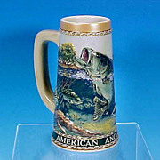 "Vintage American Angler Series ""Large Mouth Bass"" Beer Stein Tankard Mug The Carolina Collection / Ceramarte Brazil"