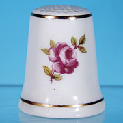 "Vintage ROYAL ADDERLEY ""Floral"" Bone China Thimble Made in England RED ROSE"