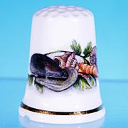 "Discontinued Vintage Bone China Thimble ""SEA SHELLS, LOBSTER, MOLLUSK SHELLS"" Cottage Thimbles, England"