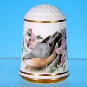 Limited Edition Porcelain Thimble NUTHATCH / Franklin Porcelain / GARDEN BIRDS / Peter Barrett