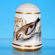 Limited Edition Porcelain Thimble SNOW BUNTING / Franklin Porcelain / GARDEN BIRDS / Peter Barrett