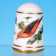 Limited Edition Porcelain Thimble SCARLET TANAGER / Franklin Porcelain / GARDEN BIRDS / Peter Barrett