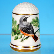 Limited Edition Porcelain Thimble COMMON REDSTART / Franklin Porcelain / GARDEN BIRDS / Peter Barrett