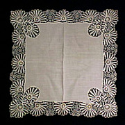 Vintage Cotton Linen & Lace Wedding Bridal Bride Handkerchief / Hankie / Hanky