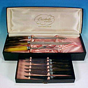 Vintage Sheffield EVERBRITE Cutlery Boxed Set / 6 Serrated Steak Knives, Carving Knife and Sharpener / Bakelite Faux Bone or Horn Handles Made in England