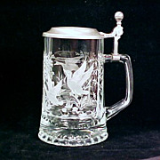 Vintage Lidded Etched Glass DUCKS / GEESE Beer Stein ALWE