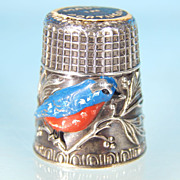 Vintage Repousse SILVERPLATE & ENAMEL Finch Collectible Sewing Thimble PORTUGAL