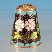 Vintage FLORAL CLOISONNE ENAMEL Collectible Sewing Thimble White & Lilac