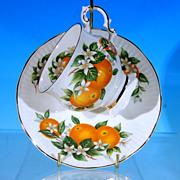 "Discontinued ELIZABETHAN Fine Bone China Footed Teacup (Tea Cup) & Saucer Set ""Florida Oranges"" England"