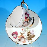 Vintage DELPHINE Bone China Rose Bud Footed Tea Cup (Teacup) & Saucer Set