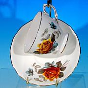 Vintage ROYAL VALE English Bone China Teacup Tea Cup & Saucer Set #8215 GOLDEN YELLOW ROSE