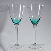 Vintage Pair Crystal Teal Blue Green Bowl Clear Stem Wine Water Goblet Stemware