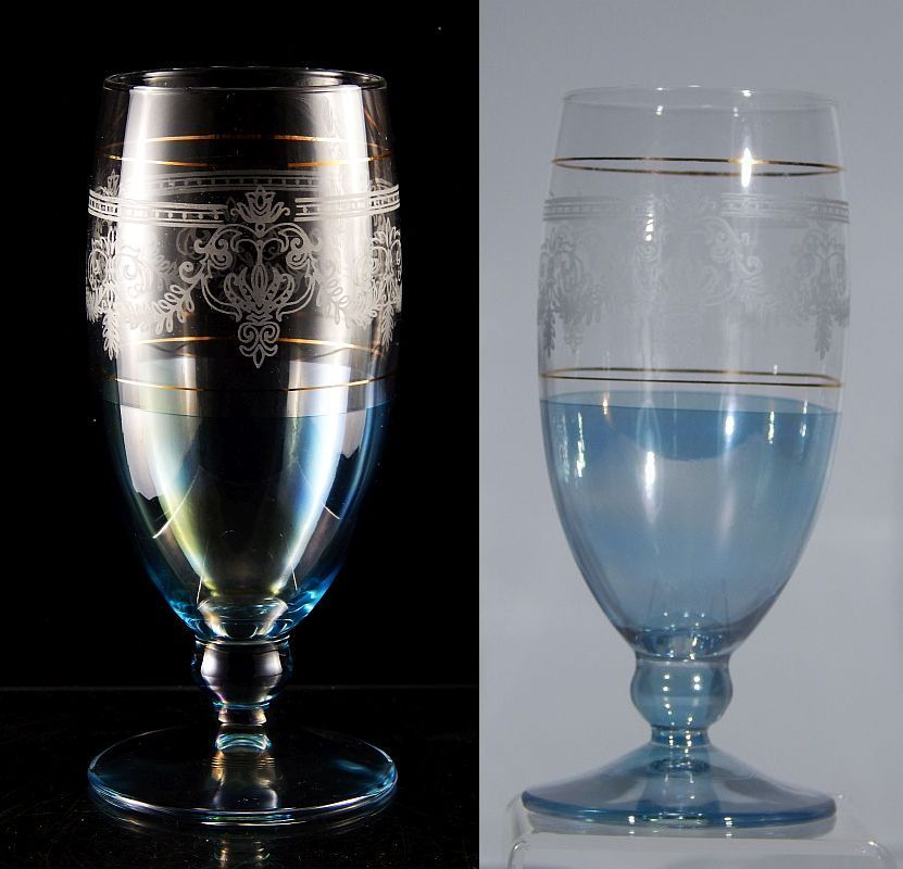 Vintage italian crystal jewel color engraved water goblet for Thin stem wine glasses