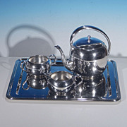 Mid-Century Modern KEYSTONE SILVER CO. Silverplate Tea Set & Tray Keystoneware
