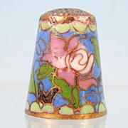 Vintage CLOISONNE FLORAL ENAMEL Collectible Thimble Asian Pink Carnation