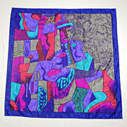 "Vintage Jewel Tone Floral Jacquard PICASSO Modern Abstract ""SEATED MAN"" Ladies Silky Scarf 34"" x 34"""