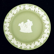 WEDGWOOD JASPERWARE Celadon Green Round Pin Dish Cupid as Oracle