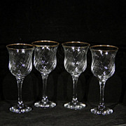 Vintage WINTERTHUR 24% Lead Crystal Stemmed Wine Glass Goblets ROYAL Set of Four (4) Gold Trimmed Optic Swirl Stemware