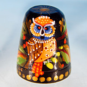 Vintage Russian Lacquer Ware Wood OWL Thimble Handpainted Russian Mythology Artist Signed