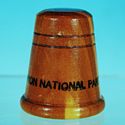 Vintage 1970's Western Juniper Wood Collectible Souvenir Thimble Grand Canyon National Park