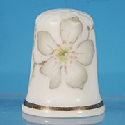 Vintage English Fine China Pale Pastel Green Floral Flower Collectible Sewing Thimble