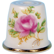 Vintage Collectible Ceramic FLORAL VICTORIAN PINK ROSE Quilting Thimble Japan
