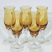 Vintage Art Glass Crystal Amber Smokey Topaz CORDIAL SHERRY STEMWARE Set of 5