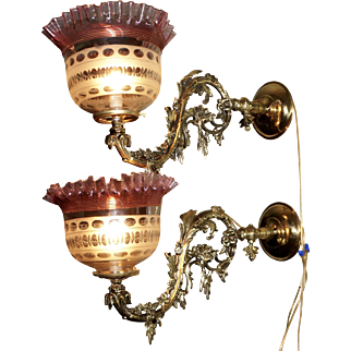 Pair of Exceptional Gas Sconces with Threaded Glass Shades
