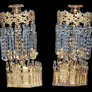 Pair of !9th Century Bigelow Chapel Girandoles/Candlesticks