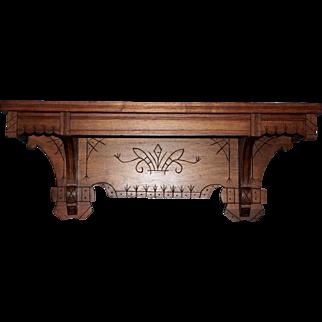 Eastlake Walnut Clock or Lamp Shelf