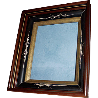 Victorian Walnut Picture Frame with Ebonized and Gilt Highlights