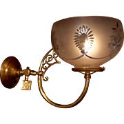 Brass 19th Century Gas Bracket or Wall Sconce