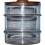Early Blown Glass Jar with Ribs and Walnut Cover