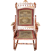 Folding Walnut Eastlake Rocking Chair with Original Fabric