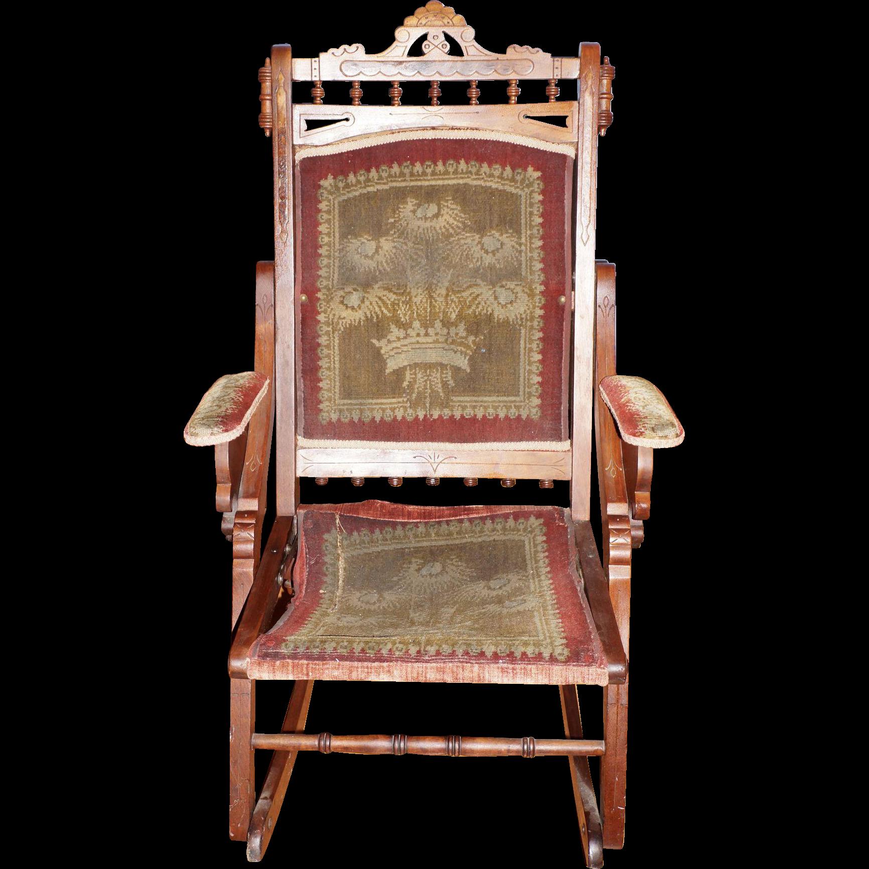 Folding Walnut Eastlake Rocking Chair with Original Fabric from circa ...