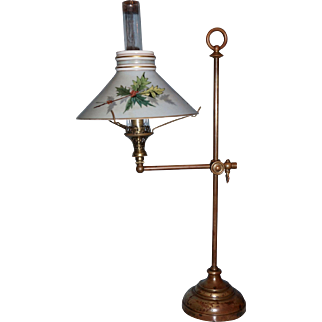 Extremely  Rare Gas Student Lamp with Boston & Sandwich Shade