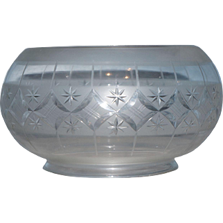 Elaborately Cut and Etched Period Gas Shade