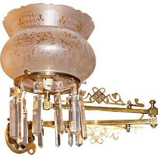 Eastlake Swing Arm Gas Sconce with Crown Shade