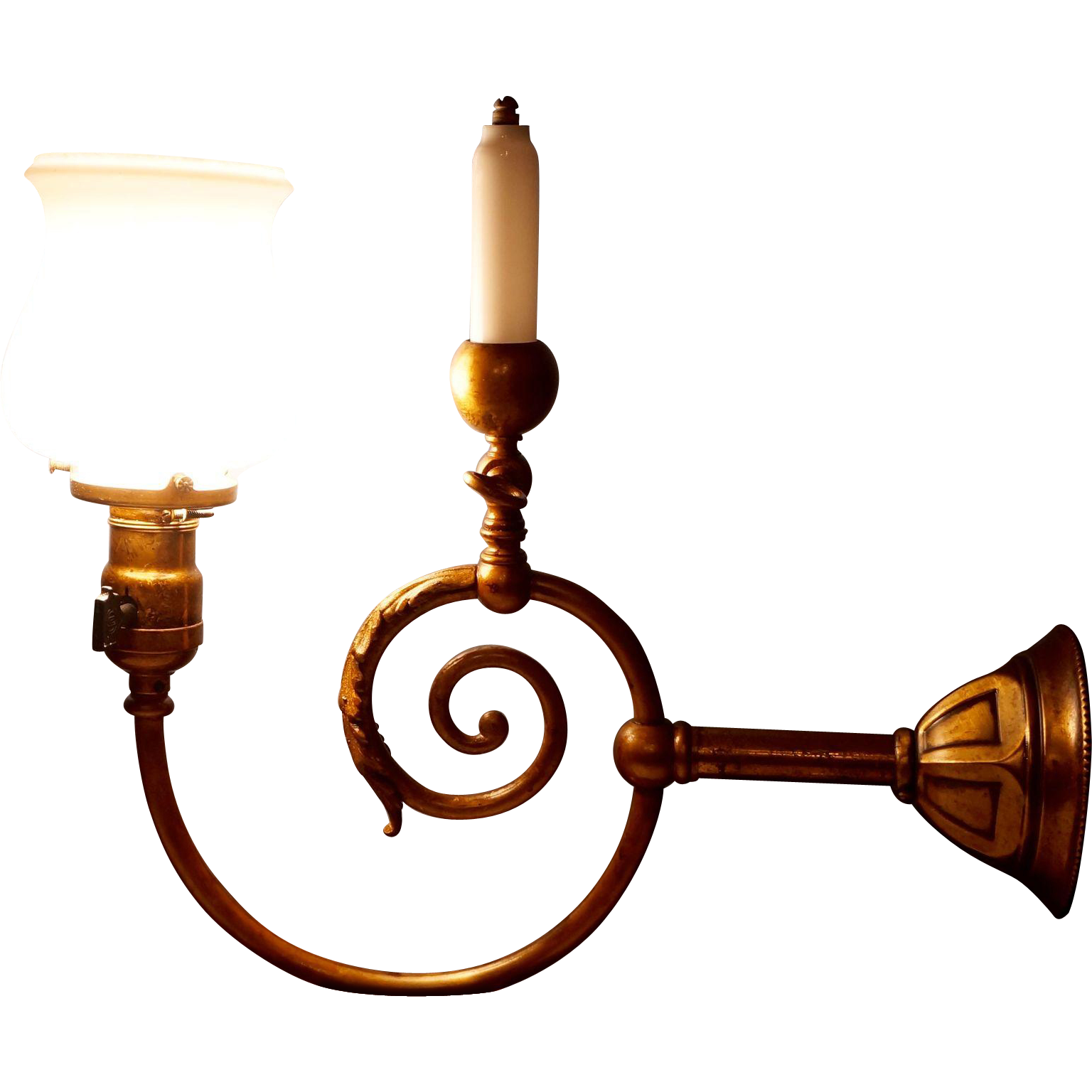 Colonial Electric Wall Sconces : Colonial Revival Gas and Electric Wall Sconce from circa-1850-antique-lighting on Ruby Lane