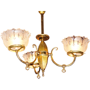 Three Arm Colonial Revival Gas Chandelier, Number 3