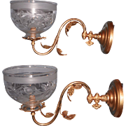 Pair of Cornelius & Baker Gas Sconces with Period Shades - Red Tag Sale Item