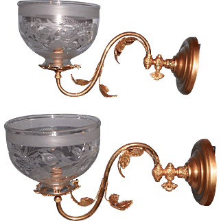 Pair of Cornelius & Baker Gas Sconces with Period Shades