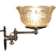 Swing Arm Gas Sconce with Period Shade