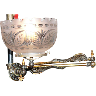 Swing Arm Gas Fixture with Original Finish and Elaborately Cut Shade